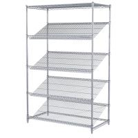 Quality Goods Display Slanted Wire Shelving Units , 5 Tier Chrome Plated Steel Rack for sale