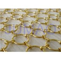 Quality Gold Galvanized Metal Ring Curtain , 22 Mm Holes Flexible Chainmail Mesh Fabric for sale