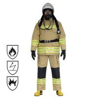 Quality Nomex Material Firefighter Suit , Navy Color Waterproof Fireproof Suit for sale