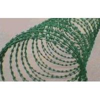 Quality PVC Prison Razor Barbed Wire Fence , Green Color Concertina Wire Fencing for sale