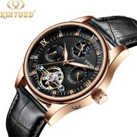 China KINYUED genuine leather tourbillon mens automatic watch  men moon phase watch men wristwatch on sale