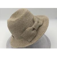 Quality Women's Pretty Vintage Foldable Straw Hat w/Large Accent Bowtie for sale