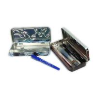 Quality rectangular 3D embossed pen tin box with hinged lid for sale