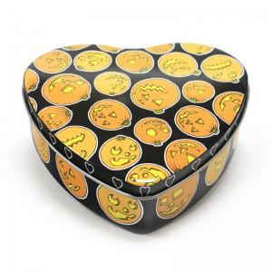 Quality Set Of 5 Halloween Pumpkin Heart Tins for sale