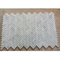 Quality C Carrara Natural Marble Mosaic Tile Bathroom Decor With Herringbone Shape for sale