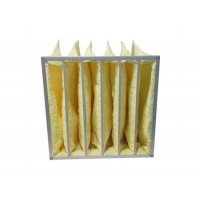 Quality Yellow Water Resistant MERV14 Pocket Air Filters / Bag Air Filter For HVAC Systems for sale