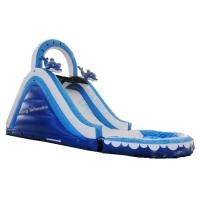 China Mini Inflatable Water Slide With Double And Quadruple Stitching Blue And White on sale