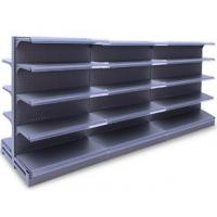 Quality Double Faced Supermarket Display Racks  ,  Black Gondola Convenience Store Shelving for sale