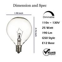 Buy Wax Warmer Bulbs Dimmable Incandescent Light Bulbs , G50 Round 25 Watt at wholesale prices