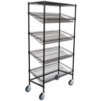 """Quality 18"""" Deep X 36"""" Wide X 72"""" High 5 Tier Slanted Wire Shelving Black Epoxy Surface Finish for sale"""