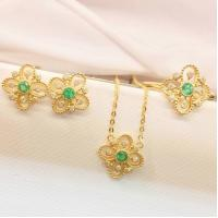 Quality Gold And Gemstone Jewelry Sets , Emerald Diamond Ring / Earrings / Necklace for sale