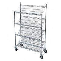 """Quality Rust Proof Slanted Wire Shelving Rack Unit Chrome Finish 14""""D X 30""""W X 48""""H for sale"""