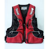 Quality 100N Red Water Sport Fishing Life Jacket With Oxford Nylon Adult Rigid Foam for sale