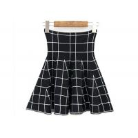 Quality High Waist Grid Pattern Girls Skater Skirt / Fashionable Plaid Mini Skirt for sale