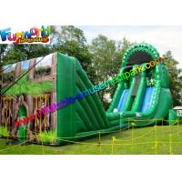 China Green Forest Inflatable Slide Zip Line Crazy With 21L x 6W x 11H Meter on sale