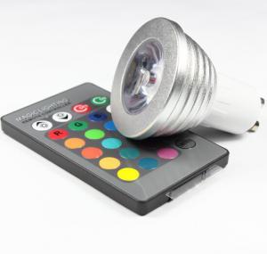 Quality 3W RGB LED COB Spotlights bulbs RGB led remote controller lathe aluminum housing GU10 E27 for sale