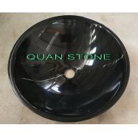 Quality Natural Nero Countertop Sink Basin Marquina Marble Sink Black Wash Bowls Round Basins for sale