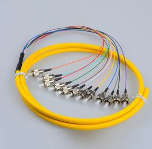 Quality 12 Cores FC/UPC Singlemode G657A2 PVC Breakout Optical Fibre Pigtail for sale