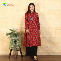 Quality Red Prints Embroidered Chinese Style Dress for sale