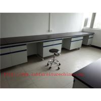 Quality 3750 mm  Wood Frame Blue /  White School Lab Workbench  with drawers furniture For Chemistry Laboratory for sale
