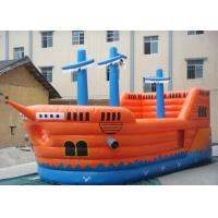 China PVC tarpaulin Commercial Grade Inflatable Pirate Ship Slide With Jumping Bouncer Area on sale