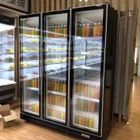 China 1200L Commercial Display Freezer Five Layer Black Swing Glass Door Refrigerator 0 To 10 Degree on sale