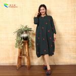 Quality Handmade Button Long Sleeve Long Cotton Dress Circular Collar Cutting Pattern for sale