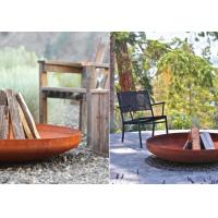 China Corten steel outdoor round bowl gas fire pits on sale