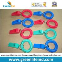 Quality Red/Blue Plastic Wrist Band Coil Loop with Plastic Alerting Whistles for sale