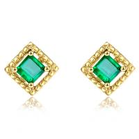 Quality Square Genuine Emerald Stud Earrings 18k Yellow Gold for Ladies Gifts for sale