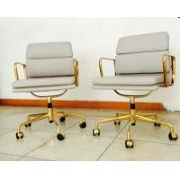 Quality Commercial Furniture White And Gold Office Chair , Soft Pad Leather Executive Desk Chair for sale