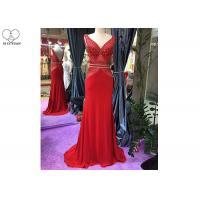 Quality V Neck Red Lace Mermaid Prom Dress Sleeveless Sweep Train Beading Open Back for sale