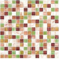 Special spring gree gold line glass mosaic mix pattern square mosaic tile