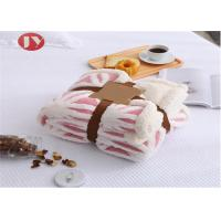 China Jacquard Coral Sherpa Fleece Blanket , 100% Poly Fleece Blankets Double Layer soft on sale