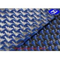 Quality Jacquard Fishtail 3K Carbon Aramid Fabric 1500D Blue Carbon Aramid Hybrid Fabric for sale