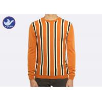 China Vertical Stripe Mens Crew Neck Sweater , Thermal Men's Cotton Cable Knit Sweater on sale