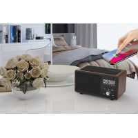 Quality Portable Wireless Charging Bluetooth Speaker Handsfree Aux Line TF Card Alarm Clock for sale
