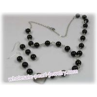 China 8mm black agate beads Y Style gem stone necklace earrings set on sale