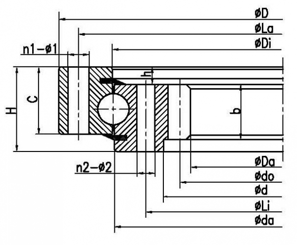 Buy Four point contact ball slewing bearing (internal gear type) at wholesale prices