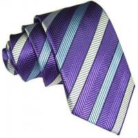 Quality Necktie Purple Stripe Silk Tie for sale