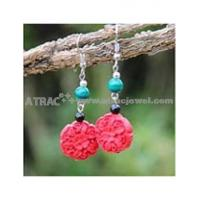 carved lacquerware pure manual big flower earrings
