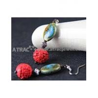 Big flower carved lacquerware pure manual earrings