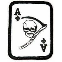 Best Ace of Spades Grim Reaper Death Card Embroidered Patch Iron-On Vietnam War Skull Emblem wholesale