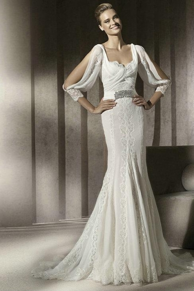 Chiffon Drapping Sleeves Square Pleated Lace Beading Belt Sheath Wedding Dress 2012 images, View more Wedding Dresses photos (16775196).
