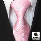 Quality Yibei Ties Novelty Pinks/White Paisley Check Woven Necktie Mens Neck Tie for sale