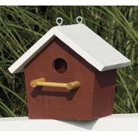 Quality Plain Birdhouse - Red with white trim for sale