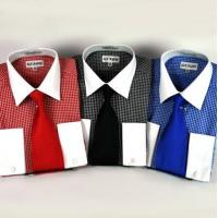Quality New Mini Check Dress Shirt w/White Collar & French Cuffs & Necktie for sale