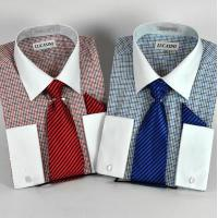 Quality New Check Dress Shirt w/White Collar & French Cuffs & Tie & P/S for sale