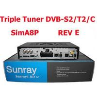 Best Sunray sr4 A8P sim card triple tuner DVB-S2/T2/C + WiFi Adapter Sunray 4 hd se satellite tv receiver wholesale