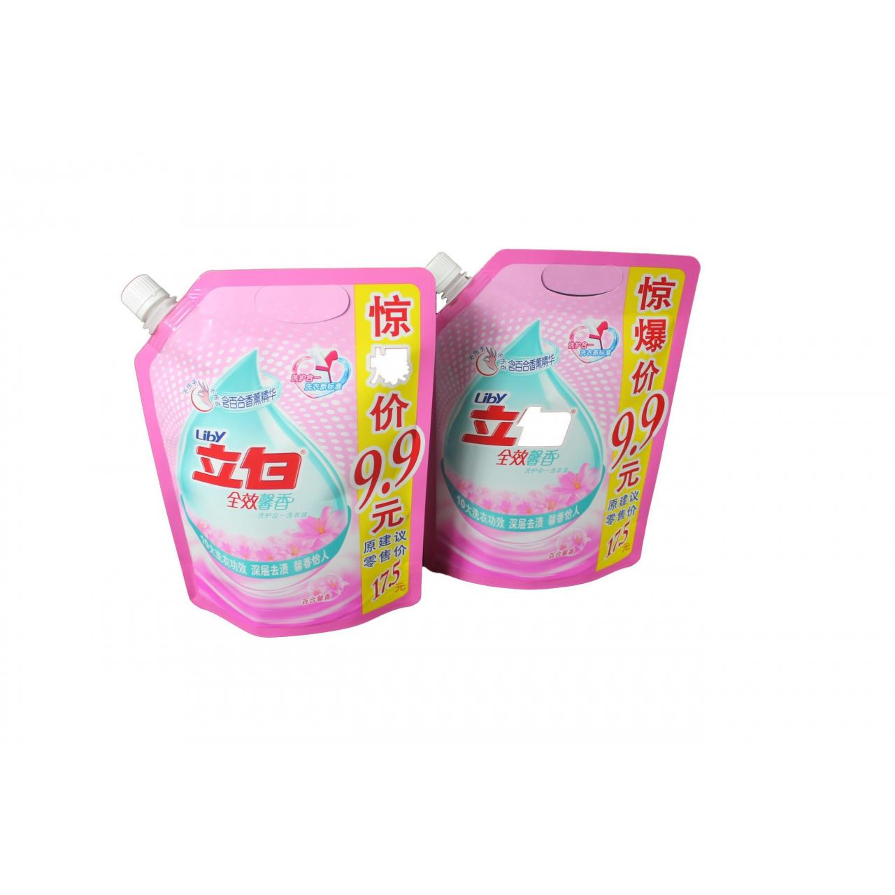 Quality 900g detergent or washing liquid packaging pouch with spout and handle for sale